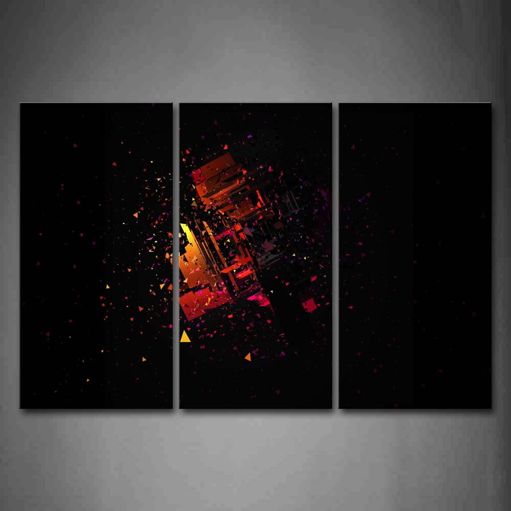 Black Background Red Yellow Shape Broken Wall Art Painting Pictures Print On Canvas Abstract The Picture For Home Modern Decoration