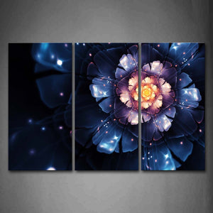 Fractal Like A Blue And Pink Flower Wall Art Painting Pictures Print On Canvas Abstract The Picture For Home Modern Decoration