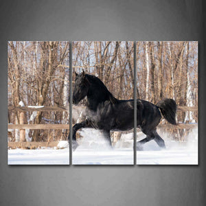 Black Horse Is Running On Snowfield Wall Art Painting Pictures Print On Canvas Animal The Picture For Home Modern Decoration