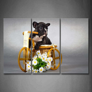 Black And White Puppy In Basket Flower Wall Art Painting Pictures Print On Canvas Animal The Picture For Home Modern Decoration