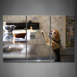 Beagle Stand To Eating Food On Desk Wall Art Painting Pictures Print On Canvas Animal The Picture For Home Modern Decoration