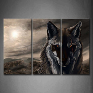 Artistic A Wolf Head Mountain Moon Wall Art Painting The Picture Print On Canvas Animal Pictures For Home Decor Decoration Gift