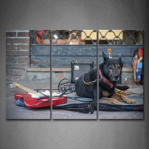 Black Dog Lie On Road Guitar Like Busker Wall Art Painting Pictures Print On Canvas Animal The Picture For Home Modern Decoration