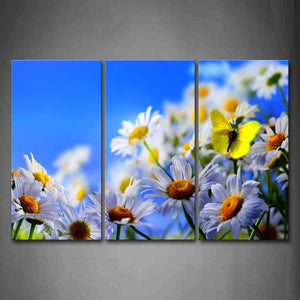 Yellow Butterfly Stop On White And Yellow Flowers Wall Art Painting The Picture Print On Canvas Flower Pictures For Home Decor Decoration Gift