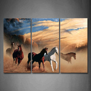 A Group Of Horses Are Running On Mud Land Like A Painting Wall Art Painting Pictures Print On Canvas Animal The Picture For Home Modern Decoration