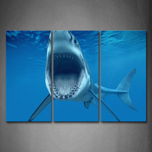 Big Shark Near Sea Surface Open Mouth In Blue Sea Wall Art Painting The Picture Print On Canvas Animal Pictures For Home Decor Decoration Gift
