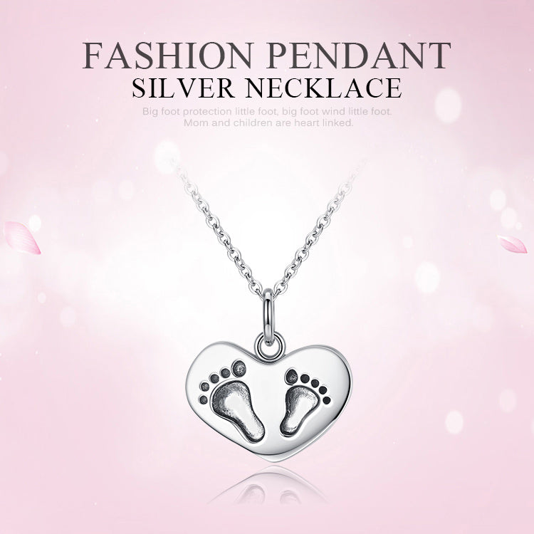 Mother gift 925 sterling silver baby feet pendant necklaces fine mother gift 925 sterling silver baby feet pendant necklaces fine jewelry free shipping mozeypictures Image collections