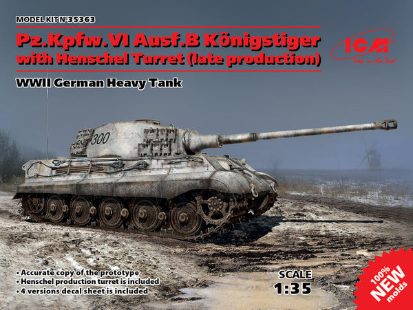 ICM #35363 1/35 Pz.Kpfw.VI Ausf.B Königstiger with Henschel Turret (late production), WWII German Heavy Tank