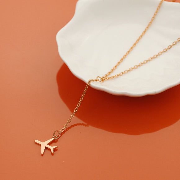 Chain Layered Airplane Necklace