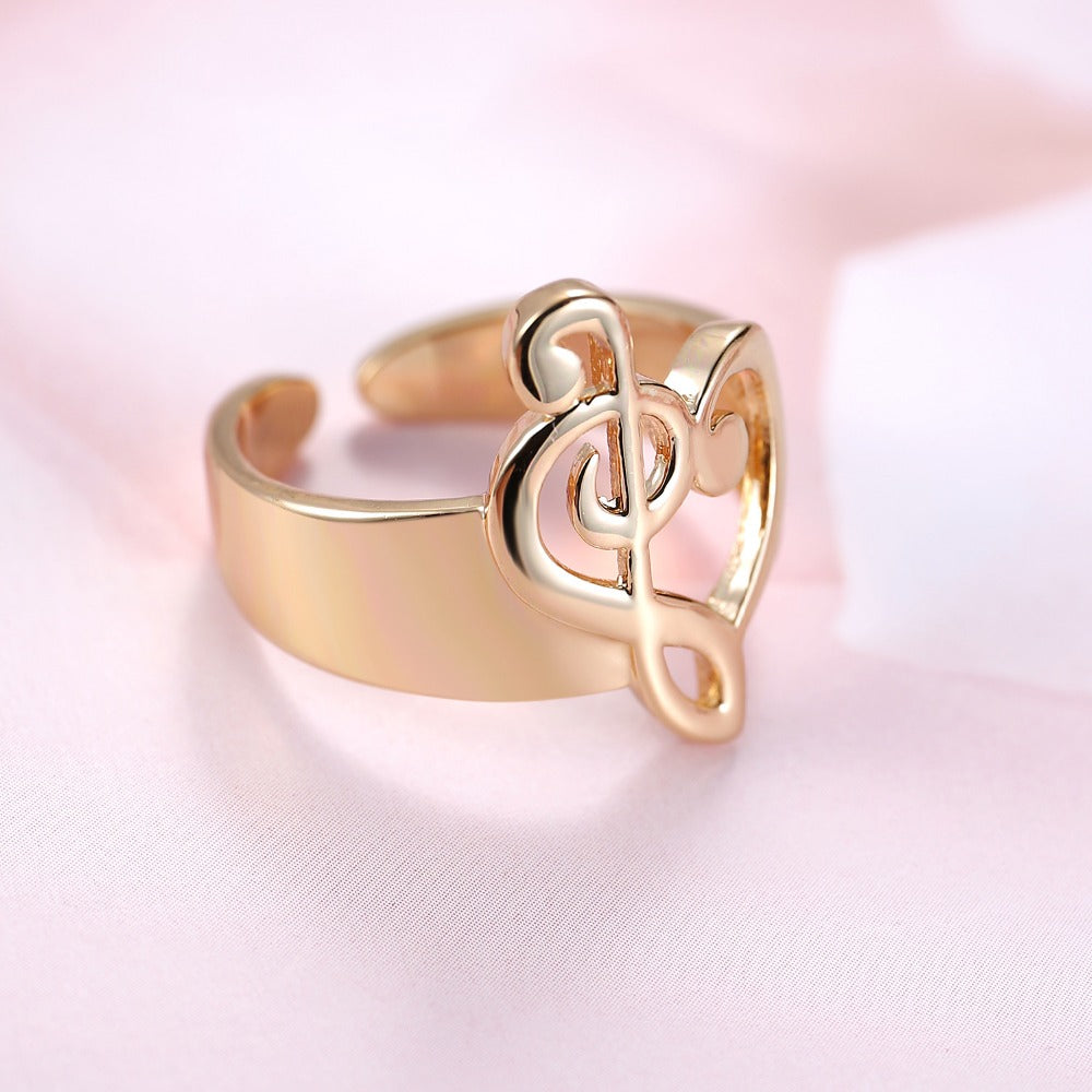 Rose Gold Colored Heart Shaped Musical Note Open Ring Little Music