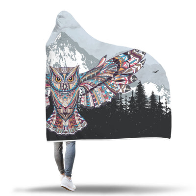 Tribal Owl Hooded Blanket