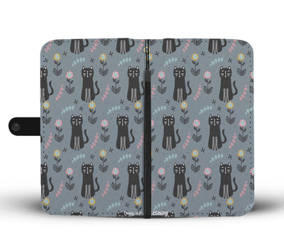 Cat and Flowers Wallet Phone Case