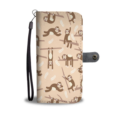 Sloth Hanging Around Wallet Phone Case