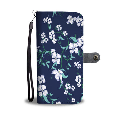 White Floral Pattern Wallet Phone Case