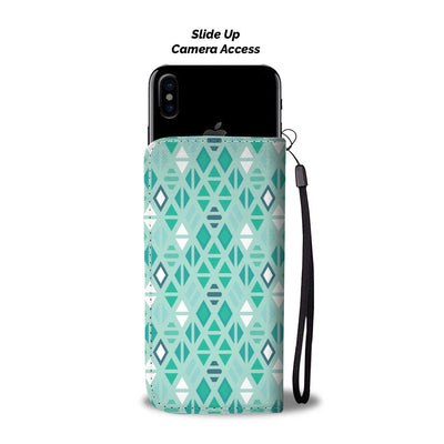 Green Geo Pattern Wallet Phone Case