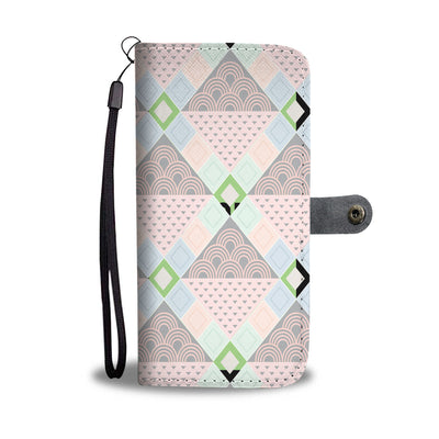 Pink Diamond Pattern Wallet Phone Case