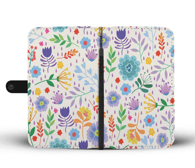 Flower Element Pattern Wallet Phone Case