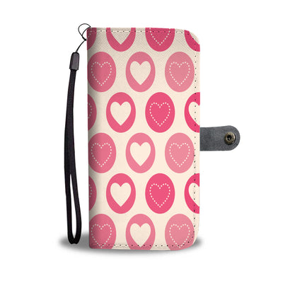 Circle of Hearts Pattern Wallet Phone Case