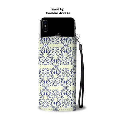 Elegant Blue Vine Pattern Wallet Phone Case
