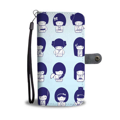 Kokeshi Pattern Wallet Case