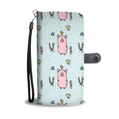 Garden Pig  and Bird Wallet Phone Case