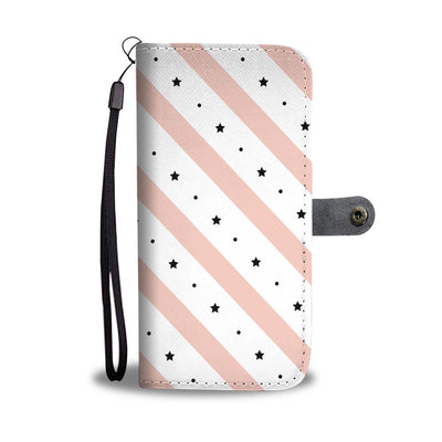 Pink Stripe and Star Wallet Phone Case