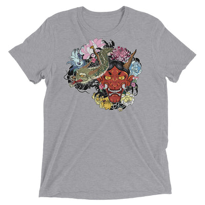 Japanese Dragon and Demon Mask Short sleeve t-shirt
