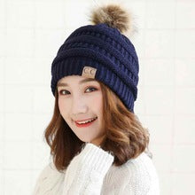 High Quality Letter CC knitted Beanie cap Fur Ball Caps Pom Poms Women Winter Hats Girl 's Warm winter Beanies hats wholesale