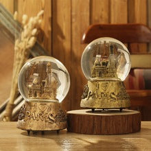 Home Decoration Letter Pattern terrarium Desktop Crystal Ball Music Box Snow Globes Unique Tower Light Crystal Ball With Snow