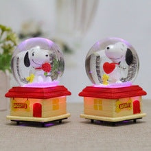 LED Light Snow Globes Crystal Ball Music Box Fashion Clockwork Type Music Box Rotary Puppy Dog Natal Gift Ball With Snow Box