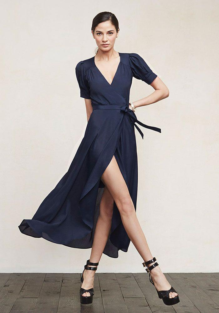Reformation navy wrap maxi dress