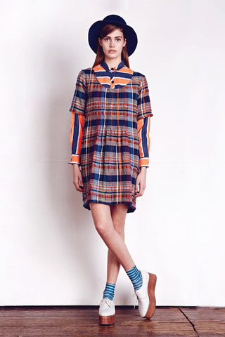 Ace & Jig tartan multi coloured striped dress