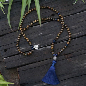 A Way With Woods Spiritual Tiger Eye Mala Necklace - Necklace