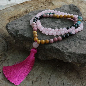 About Love Rose Quartz & Rhodochrosite Mala Necklace - Necklace
