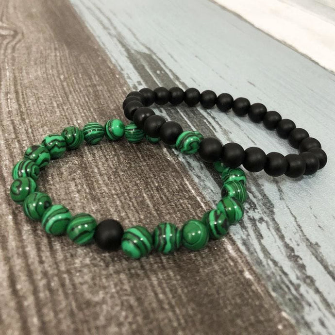Acceptance And Harmony Enhancing Malachite And Black Onyx Bracelet Set - Stacked Bracelets