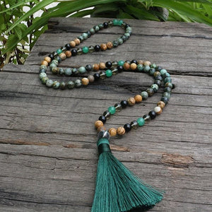African Jade Picture Jasper and Black Spinel Necklace - Necklace