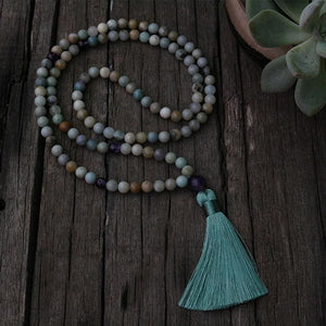 Amazonite Amethyst and Picture Jasper Necklace - Necklace