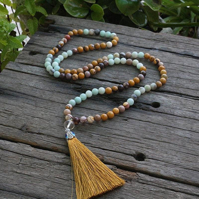Amazonite Mookaite and Clear Quartz Necklace - Necklace