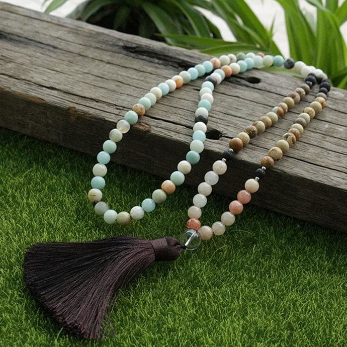 Amazonite & Picture Jasper Mala Necklace - Necklace