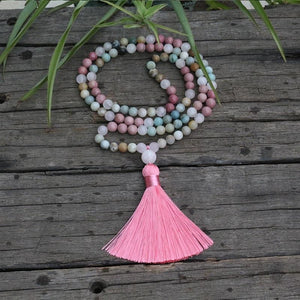 Amazonite Rhodrochrosite and Pink Calcite Necklace - Necklace
