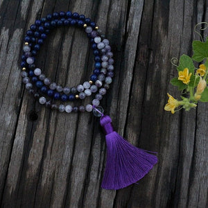 Amethyst and Lapis Lazuli Mala Necklace - Necklace