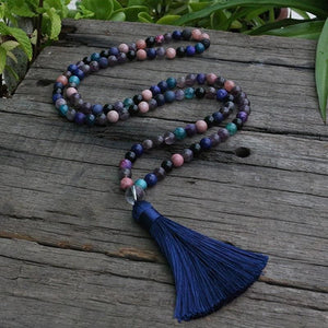 Amethyst And SunStone Mala Beads Necklace - Necklace