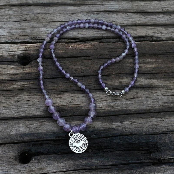 Amethyst Mini Beads 108 Mala Necklace - Necklace