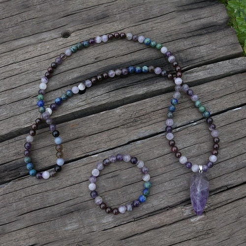 Amethyst Pendant Mala Necklace & Bracelet Set - Necklace & Bracelet