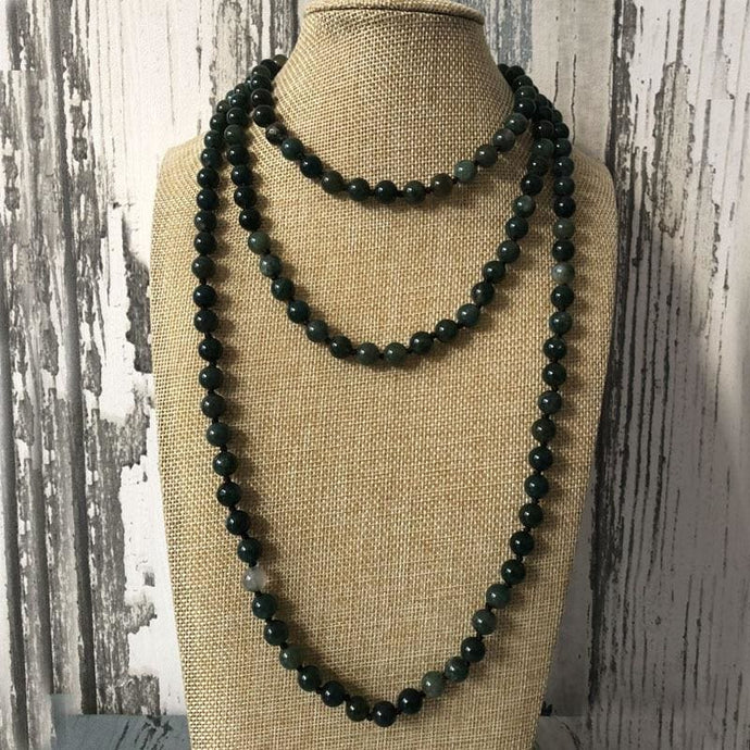 Aura Cleansing And Spiritual Growth Promoting Moss Agate Stone Necklace - Necklace