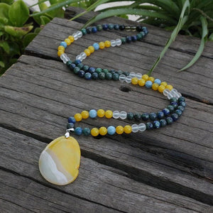 Azurite Malachite Yellow Agate Moon Quartz Angelite Mala Necklace - Necklace