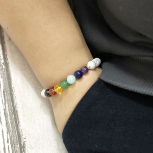 Balancing And Enlightening Howlite 7 Chakra Bracelet - Bead Bracelets