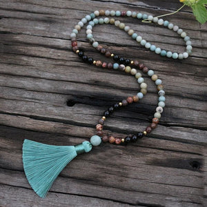 Black Onyx Amazonite and Morocco Agate Necklace - Necklace