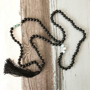 Black Onyx and Blue Calcite Mala Necklace - Malas