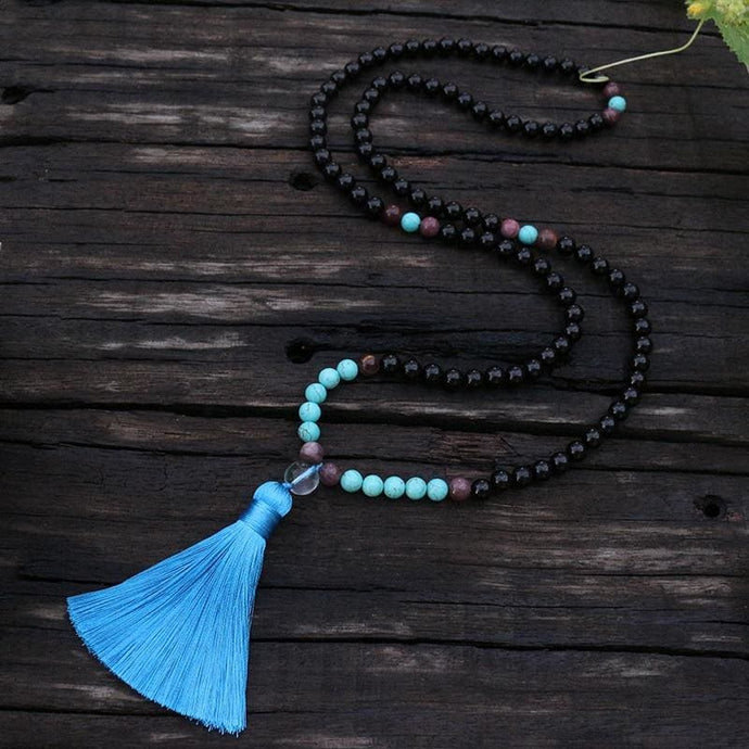 Black Onyx Sleeping Beauty Turquoise and Mookaite Necklace - Necklace